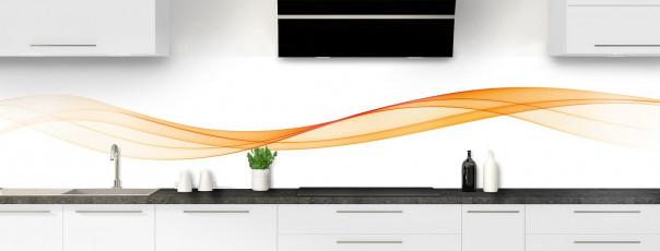 Crédence de cuisine Vague graphique couleur abricot panoramique motif inversé