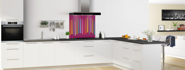 Crédence de cuisine Barres colorées couleur prune fond de hotte en perspective