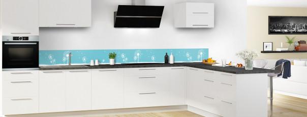Crédence de cuisine Pissenlit au vent couleur bleu lagon dosseret motif inversé en perspective
