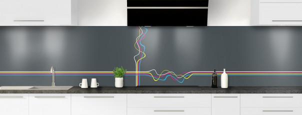 Crédence de cuisine Light painting couleur gris carbone panoramique