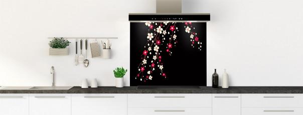 Crédence de cuisine Arbre fleuri couleur noir fond de hotte motif inversé