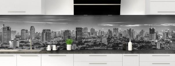 Crédence de cuisine Bangkok Noir & Blanc panoramique motif inversé