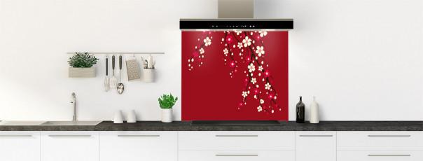 Crédence de cuisine Arbre fleuri couleur rouge carmin fond de hotte