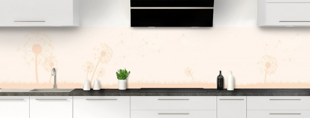 Crédence de cuisine Pissenlit au vent couleur magnolia panoramique