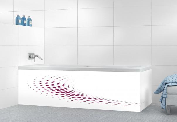 Panneau tablier de bain Nuage de points couleur prune motif inversé