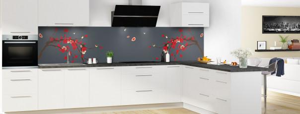 Crédence de cuisine Cerisier japonnais couleur gris carbone panoramique motif inversé en perspective