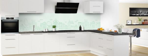 Crédence de cuisine Dessin de ville couleur vert eau panoramique en perspective
