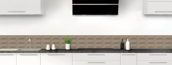 Crédence de cuisine Briques en relief couleur marron glacé dosseret