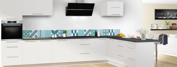 Crédence de cuisine Carreaux de ciment patchwork gris bleu dosseret en perspective