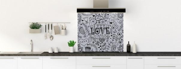 Crédence de cuisine Love illustration couleur gris métal fond de hotte