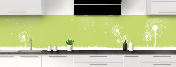 Crédence de cuisine Pissenlit au vent couleur vert olive panoramique motif inversé