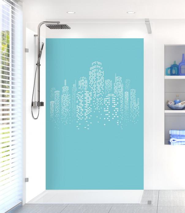 Panneau de douche Gratte-ciels couleur bleu lagon motif inversé