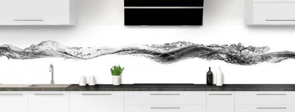 Crédence de cuisine Water Splash Noir panoramique