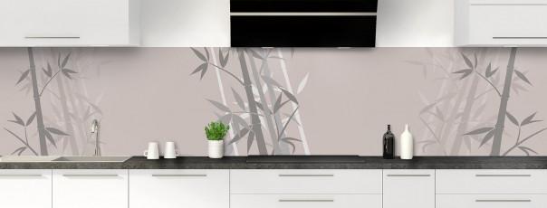 Crédence de cuisine Bambou zen couleur argile panoramique motif inversé