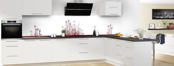 Crédence de cuisine Graminées couleur rouge pourpre panoramique en perspective