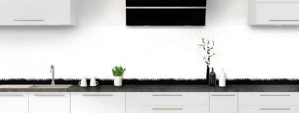 Crédence de cuisine Arbre d'amour couleur magnolia panoramique motif inversé