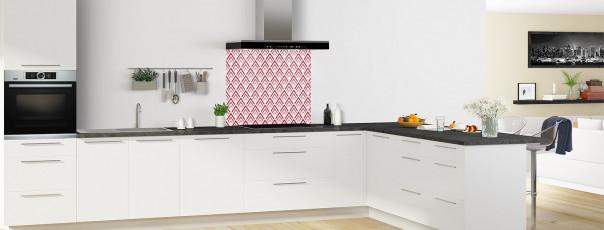 Crédence de cuisine Ecailles Magnolia couleur rouge carmin fond de hotte en perspective
