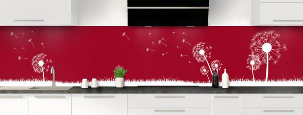 Crédence de cuisine Pissenlit au vent couleur rouge carmin panoramique motif inversé