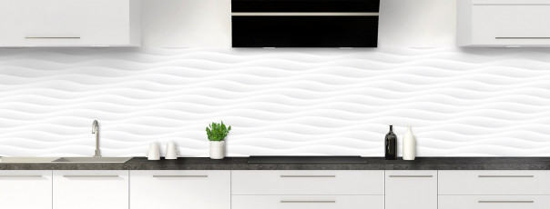 Crédence de cuisine Ondes couleur blanc panoramique
