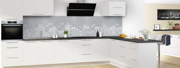 Crédence de cuisine Dessin de ville couleur gris métal panoramique en perspective