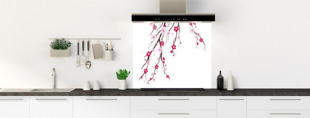 Crédence de cuisine Arbre fleuri couleur blanc fond de hotte motif inversé