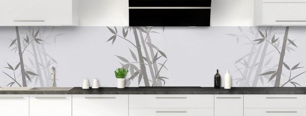 Crédence de cuisine Bambou zen couleur gris clair panoramique motif inversé