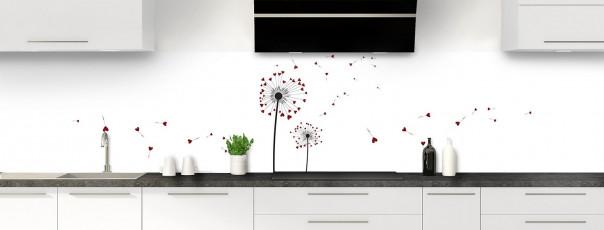 Crédence de cuisine Envol d'amour couleur rouge pourpre panoramique motif inversé