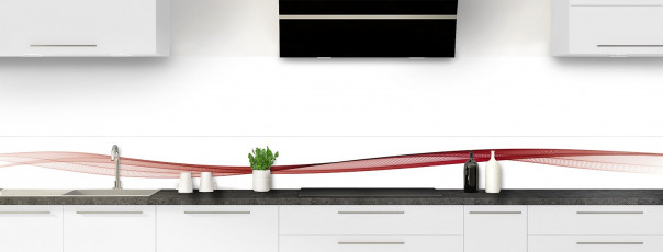 Crédence de cuisine Vague graphique couleur rouge carmin dosseret motif inversé