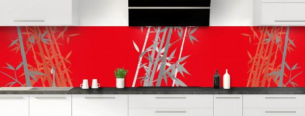 Crédence de cuisine Bambou zen couleur rouge vif panoramique