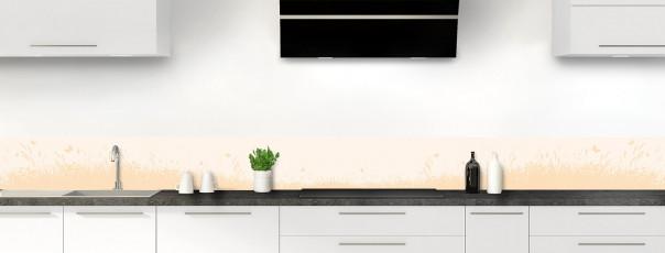 Crédence de cuisine Prairie et papillons couleur magnolia dosseret motif inversé