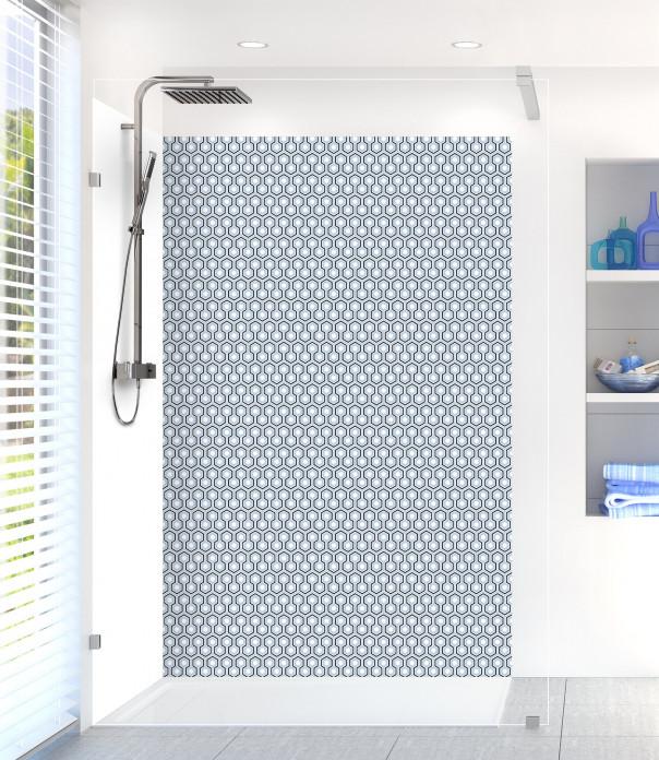 Panneau de douche Hexagones  couleur bleu azur