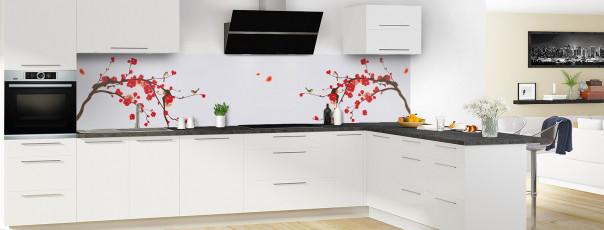 Crédence de cuisine Cerisier japonnais couleur gris clair panoramique motif inversé en perspective