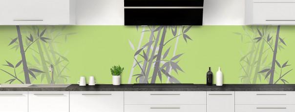 Crédence de cuisine Bambou zen couleur vert olive panoramique