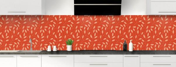 Crédence de cuisine Rideau de feuilles couleur rouge brique panoramique
