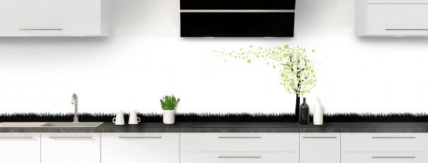 Crédence de cuisine Arbre d'amour couleur vert olive panoramique motif inversé