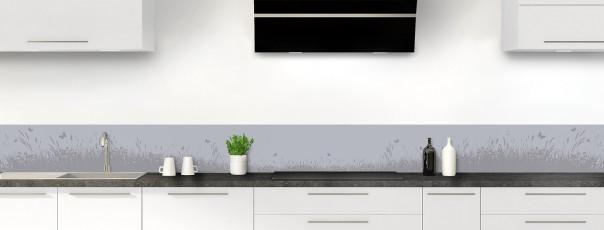 Crédence de cuisine Prairie et papillons couleur gris métal dosseret