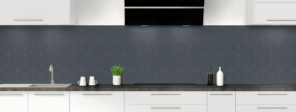 Crédence de cuisine Cubes en relief couleur gris carbone panoramique