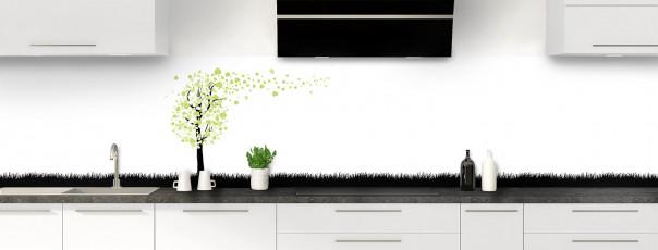 Crédence de cuisine Arbre d'amour couleur vert olive panoramique