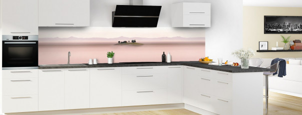 Crédence de cuisine Brume rosée panoramique en perspective