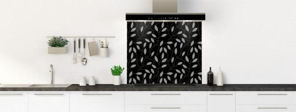 Crédence de cuisine Rideau de feuilles couleur noir fond de hotte