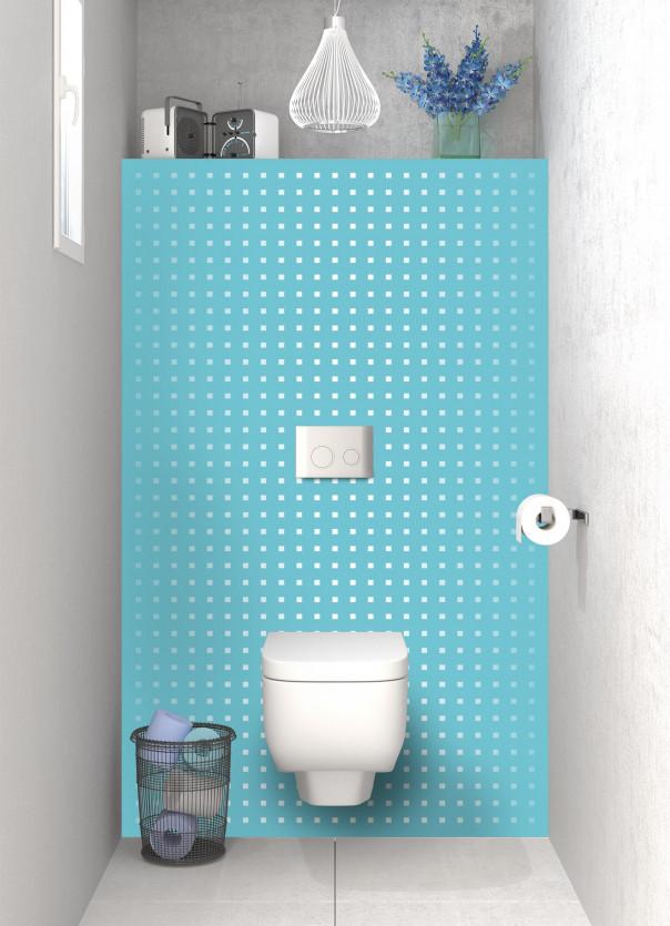 Panneau WC Petits carrés couleur bleu lagon