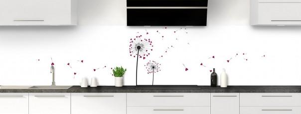 Crédence de cuisine Envol d'amour couleur prune panoramique motif inversé