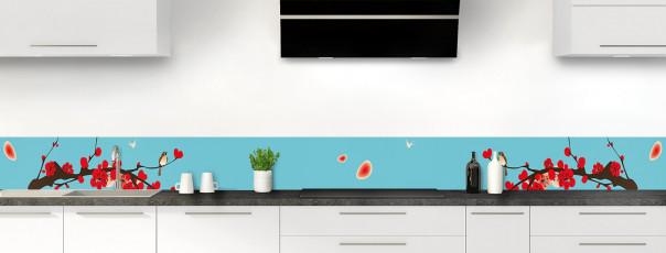 Crédence de cuisine Cerisier japonnais couleur bleu lagon dosseret motif inversé