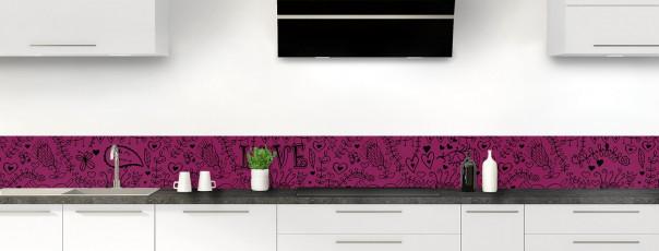 Crédence de cuisine Love illustration couleur prune dosseret