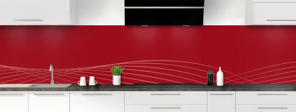 Crédence de cuisine Courbes couleur rouge carmin panoramique motif inversé