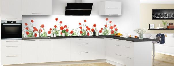 Crédence de cuisine Coquelicots Fond blanc panoramique en perspective