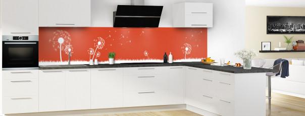 Crédence de cuisine Pissenlit au vent couleur rouge brique panoramique en perspective