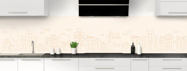 Crédence de cuisine Dessin de ville couleur magnolia panoramique