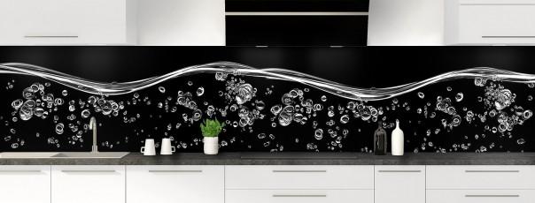 Crédence de cuisine Aqua et bulles Noir panoramique motif inversé