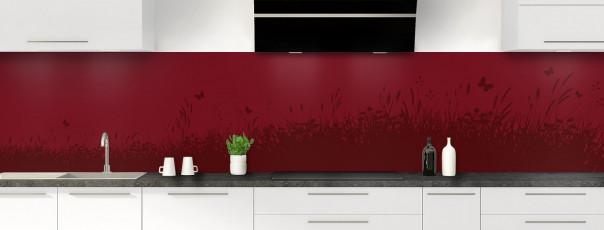 Crédence de cuisine Prairie et papillons couleur rouge pourpre panoramique motif inversé